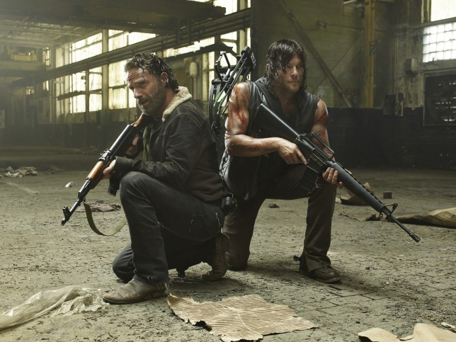 The Walking Dead season 5: Andrew Lincoln as Rick with Norman Reedus as Daryl