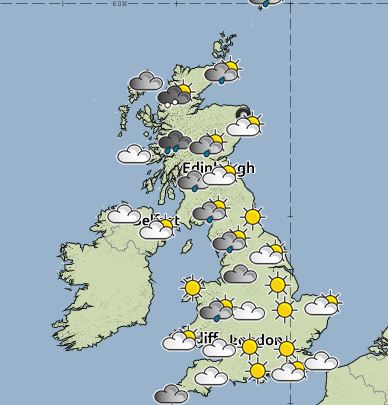 The forecast for 1pm on Saturday (Picture: Met Office)