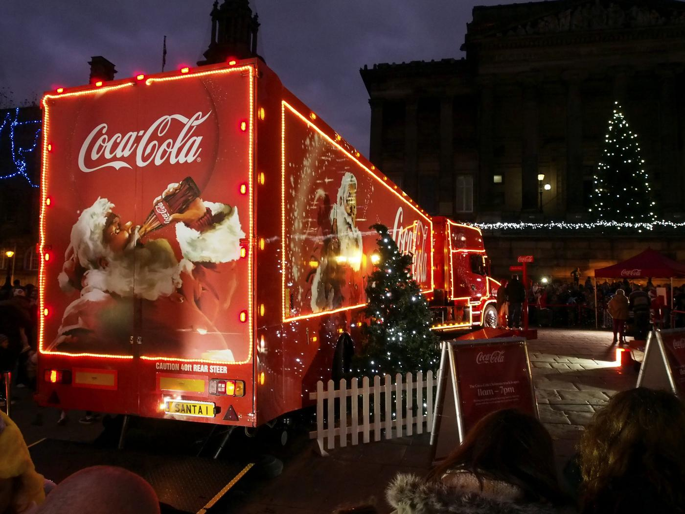 PRESTON, LANCASHIRE, UK. 24th November 2013. Coca-Cola Christmas truck visits Preston on the 2nd day of its month long UK tour. SueBurtonPhotography/SueBurtonPhotography