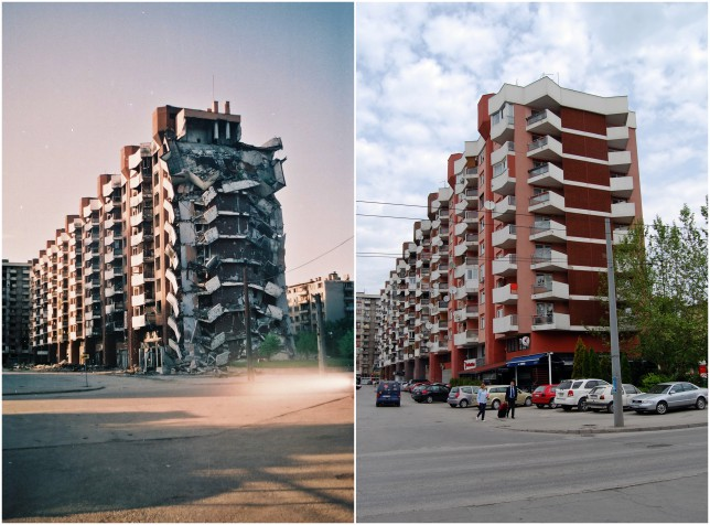 The 'Loris' residential building, in Grbavica, suffered substantial structural damage but was rebuilt (Picture: Jim Marshall/Barcroft Media)