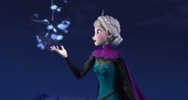"""Film: Frozen (2013).  This image released by Disney shows Elsa the Snow Queen, voiced by Idina Menzel, in a scene from the animated feature """"Frozen.""""    (AP Photo/Disney)"""