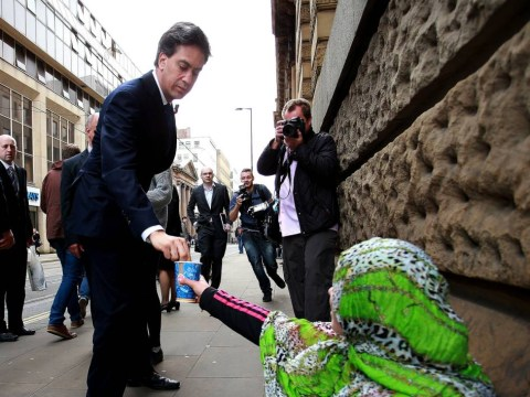 Ed Miliband criticised from every direction after giving homeless woman just 2p in Manchester