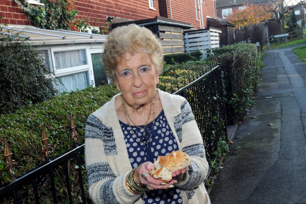 Miriam Towson from Mansfield, Nottinghamshire, who has been served with a fixed penalty notice for feeding the birds outside her home. See Ross Parry copy RPYBIRDS : An animal-loving pensioner who left scraps out to feed the wildlife next to her home has been left stunned after being hit with a fine for littering. Miriam Towson was handed the £75 fixed penalty notice after she put the four potato skins on a patch of grass near her home. The 73-year-old widow, who owns a dog and a parakeet and subscribes and donates regularly to no fewer than six animal charities, said she does it to help fee: foxes.