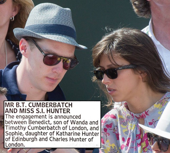 PARIS, FRANCE - JUNE 08:  Actor Benedict Cumberbatch and his companion attend the Men's Final of Roland Garros French Tennis Open 2014 - Day 15 at Roland Garros on June 8, 2014 in Paris, France.  (Photo by Rindoff/Charriau/French Select/Getty Images)