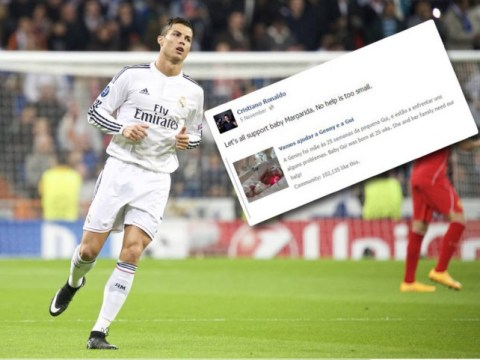 Cristiano Ronaldo uses huge Facebook following to help raise funds for sick Portuguese baby