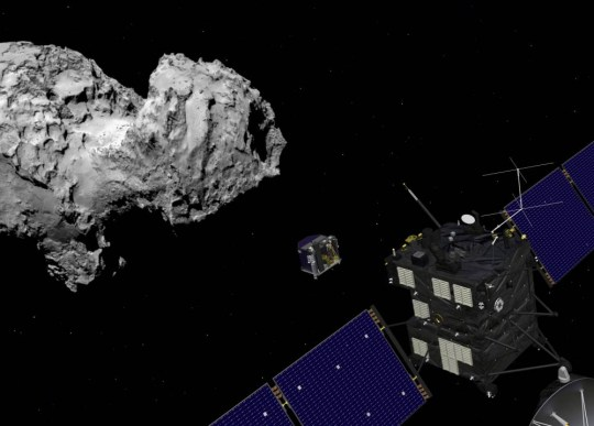Undated artists impression issued by the European Space Agency of the Rosetta orbiter deploying the Philae lander to comet 67P/ChuryumovÒGerasimenkoas scientists will attempt to make history this week by landing a robotic probe on the surface of a comet more than 300 million miles away. PRESS ASSOCIATION Photo. Issue date: Sunday November 9, 2014. European Space Agency (ESA) mission controllers will be holding their breath as the craft, called Philae, makes the seven-hour descent on Wednesday. See PA story SCIENCE Philae. Photo credit should read: ESA/PA Wire NOTE TO EDITORS: This handout photo may only be used in for editorial reporting purposes for the contemporaneous illustration of events, things or the people in the image or facts mentioned in the caption. Reuse of the picture may require further permission from the copyright holder.