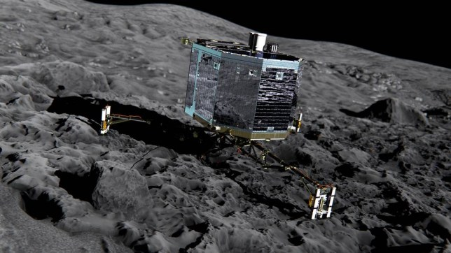 Undated artist's impression issued by the European Space Agency of the Rosetta's lander Philae (front view) on the surface of comet 67P/Churyumov-Gerasimenko, as scientists will attempt to make history this week by landing a robotic probe on the surface of a comet more than 300 million miles away. PRESS ASSOCIATION Photo. Issue date: Sunday November 9, 2014. European Space Agency (ESA) mission controllers will be holding their breath as the craft, called Philae, makes the seven-hour descent on Wednesday. See PA story SCIENCE Philae. Photo credit should read: ESA/PA Wire NOTE TO EDITORS: This handout photo may only be used in for editorial reporting purposes for the contemporaneous illustration of events, things or the people in the image or facts mentioned in the caption. Reuse of the picture may require further permission from the copyright holder.
