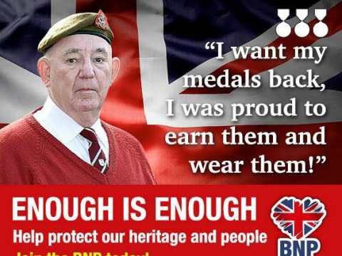 BNP 'exploit' war veteran who was robbed of his medals for campaign poster