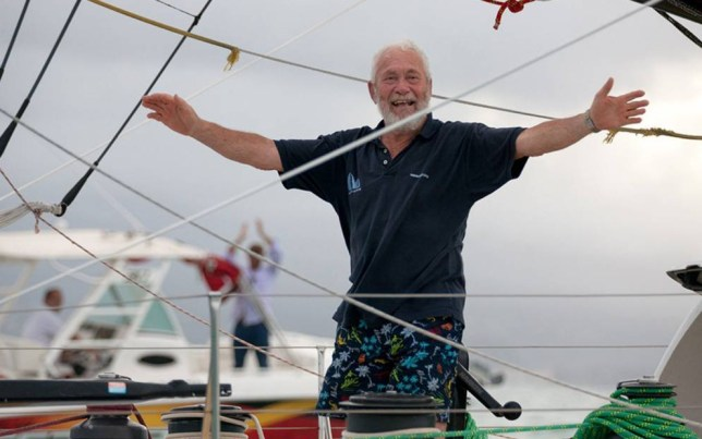 Handout photo issued Clipper Round the World Yacht Race of veteran sailor and grandfather-of-five Sir Robin Knox-Johnston who has claimed third place in his class as he crossed the finishing line of a solo transatlantic race at the age of 75. PRESS ASSOCIATION Photo. Issue date: Saturday November 22, 2014. Sir Robin came third in the Rhum class as he crossed the finish line at Pointe a Pitre at 4.52pm local time/8.52pm GMT after 20 days, 7 hours, 52 minutes and 22 seconds at sea. He managed to hold off rival Wilfrid Clerton, who was 20 miles behind. See PA story SEA Rhum. Photo credit should read: Breschi/Clipper Round the World Yacht Race/PA Wire NOTE TO EDITORS: This handout photo may only be used in for editorial reporting purposes for the contemporaneous illustration of events, things or the people in the image or facts mentioned in the caption. Reuse of the picture may require further permission from the copyright holder.
