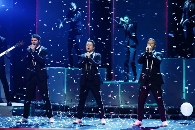 *** MANDATORY BYLINE TO READ: Syco / Thames / Corbis ***<BR /> Take That perform their new single 'These Days' at the X Factor live show in London. Credit: Dymond/Syco/Thames/Corbis <P> Pictured: Take That <B>Ref: SPL897194  231114  </B><BR /> Picture by: Dymond / Syco / Thames / Corbis<BR /> </P>