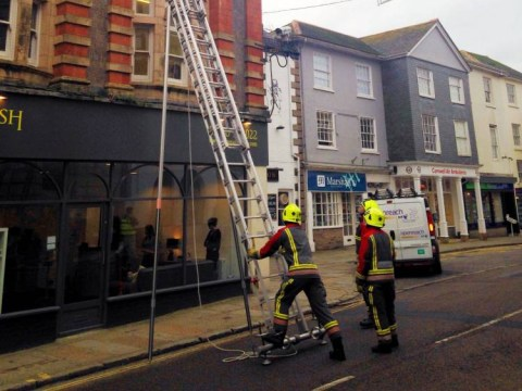 Heroic firefighters close road to rescue trapped pigeon