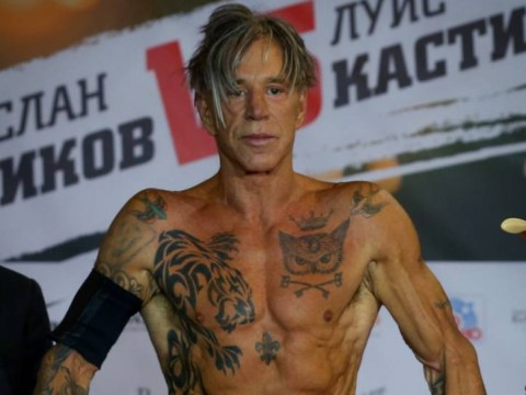 Svelt Mickey Rourke strips down to tiny shorts for his first boxing match in 20 years
