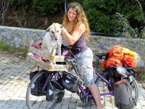 Cyclist rescues stray dog from bullies and pedals her to a new life