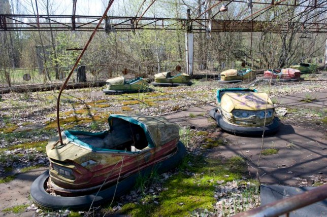 The Town of Prypyat which was the town closest to the Chernobyl Nuclear Reactor the town had to be evacuated and is left as it stood 26 years after  the Disaster which killed thousands. abandoned dodgems The future of energy leaning from the long term consequences  of Chernobyl.The Green Cross trip to the Chernobyl area in the Ukraine.    26.4.12 pic David Crump. . REXMAILPIX.