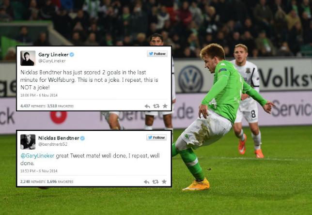 Former Arsenal hero Lord Nicklas Bendtner owns Gary Lineker after scoring first Wolfsburg goals