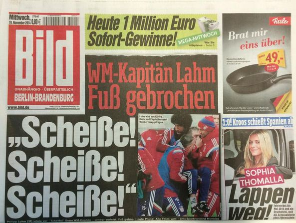 'S***, s***, s***': German newspaper Bild print dramatic headline after Philipp Lahm suffers serious injury