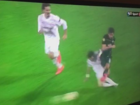 Celtic's Charlie Mulgrew on receiving end of horrendous tackle from Vincent Laban in Europa League