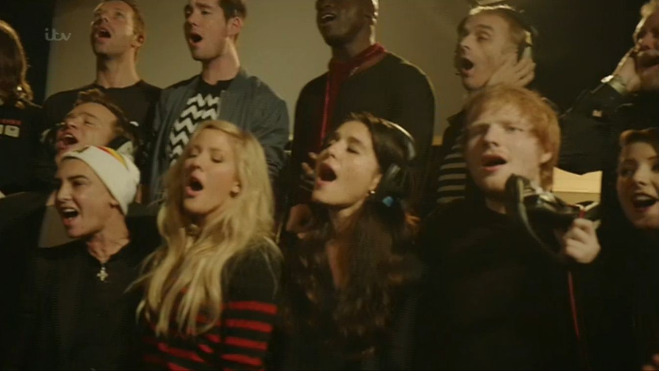 Band Aid 30's single starring One Direction has the X Factor as video debuts during show