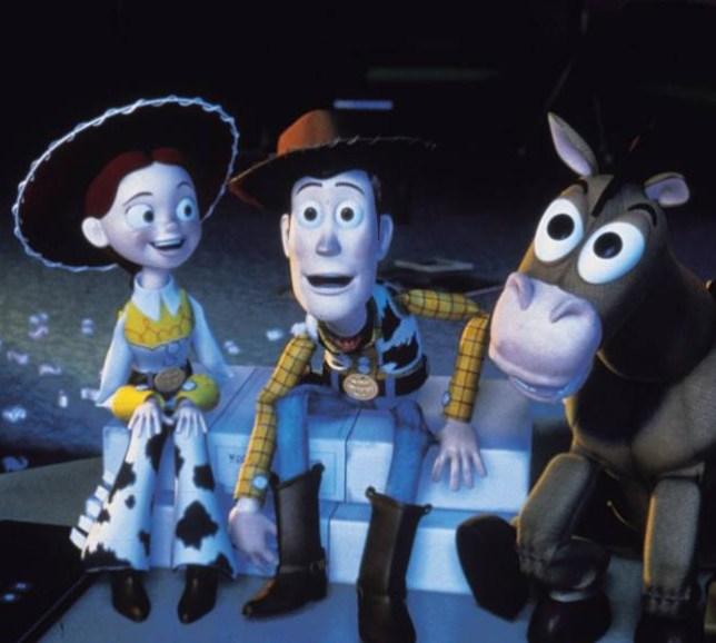Scene from the 1999 film Toy Story 2 showing Jessie Woody and Bullseye FOR  FURTHER INFORMATION c0091e2b093