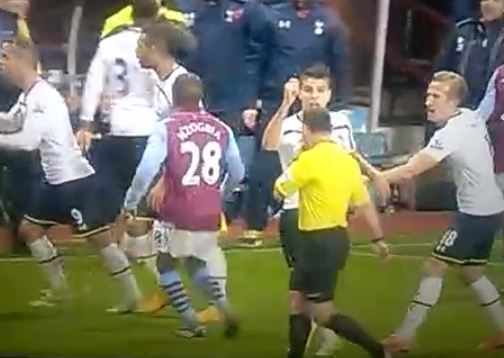 Harry Kane tells off Tottenham team-mate Erik Lamela for waving the imaginary card against Aston Villa