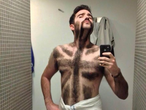 God shave the Queen: This man wins Movember after getting a British flag shaved into his chest