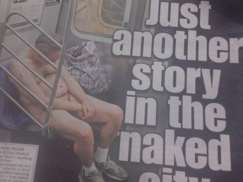 Drunk naked man falls asleep on train, gets photo published on newspaper front page