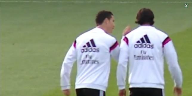 Cristiano Ronaldo tells off Sami Khedira for trying to nutmeg him during Real Madrid training