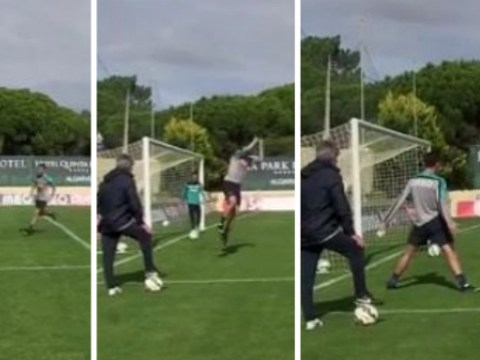 Cristiano Ronaldo seriously practices his goal celebrations in training