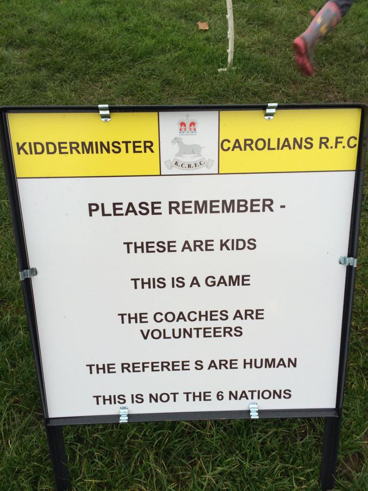 Rugby club sign reminds parents it's only a game