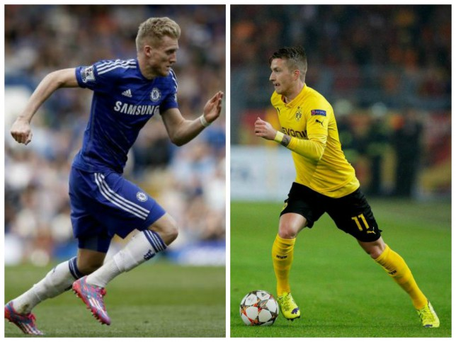 Andre Schurrle (left) could be bought to replace Marco Reus (right) at Borussia Dortmund (Pictures: AFP/Getty)