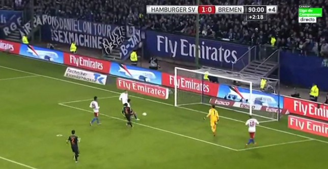 Werder Bremen goalkeeper Raphael Wolf scores ridiculous own goal after awful miss from Hamburger SV midfielder Tolgay Arslan