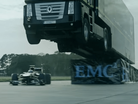 Lotus leaps articulated lorry over Formula 1 car in world record jump