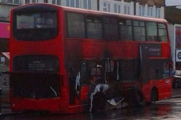 The bus was ripped open by an explosion 'like a gunshot' (Picture: London Ambulance Service)