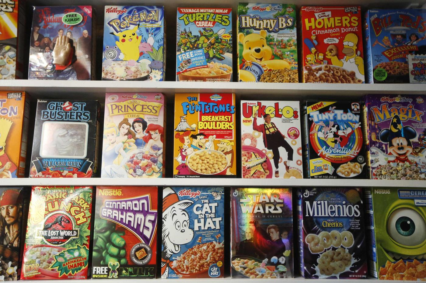 "Boxes of cereal sit on shelves at the ""Cereal Killer Cafe"" (Picture: Luke Macgregor/Reuters)"