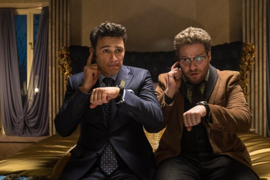 "This image released by Columbia Pictures shows James Franco, left, and Seth Rogen in ""The Interview."" The comedy is set for release in 2014 on Christmas Day. (AP Photo/Columbia Pictures, Sony, Ed Araquel) AP Photo/Columbia Pictures, Sony, Ed Araquel"