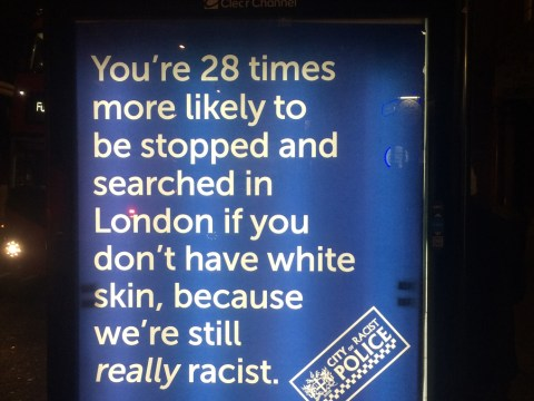 'We're really racist': Anti-police posters appear outside Scotland Yard