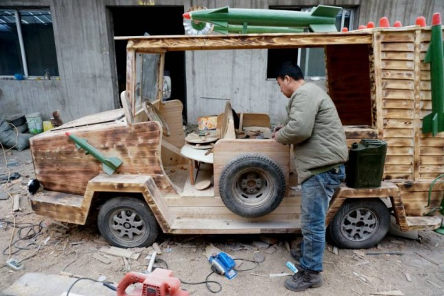 Mandatory Credit: Photo by Imaginechina/REX (4275028e)  Liu Fulong assembles his homemade electric wooden armoured vehicle  Carpenter builds wooden armoured vehicle, Shenyang city, Liaoning province, China - 03 Dec 2014  A Chinese carpenter in Shenyang, capital of northeast China's Liaoning province, surprised his neighbours by making an armoured vehicle out of wood. Liu Fulong, 48, spent about four months and nearly 20,000 yuan on the homemade wooden vehicle. The electric car, which measures 2.5 meters long and weighs over 350kg, has a top speed of 50 kilometers per hour.
