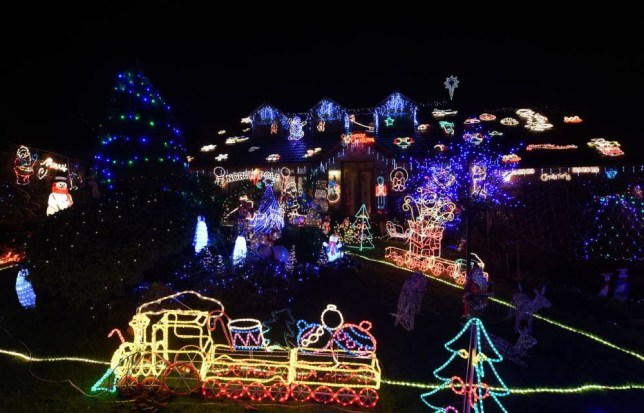 Christmas lights on the house of Malcolm and Wendy Molloy in Alcester Road, Bromsgrove. PRESS ASSOCIATION Photo. Picture date: Thursday December 11, 2014. Photo credit should read: Joe Giddens/PA Wire