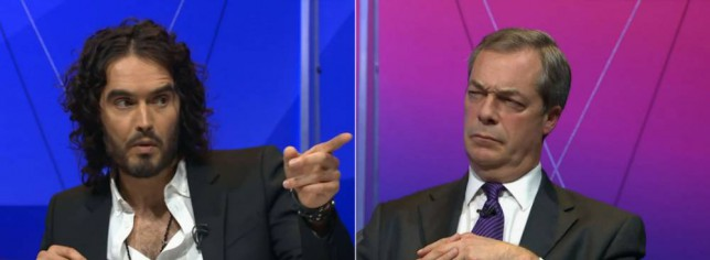 Ukip leader Nigel Farage looks on as comedian Russell Brand speaks while on the panel on this evening's politics debate programme, Question Time Picture: BBC/PA)