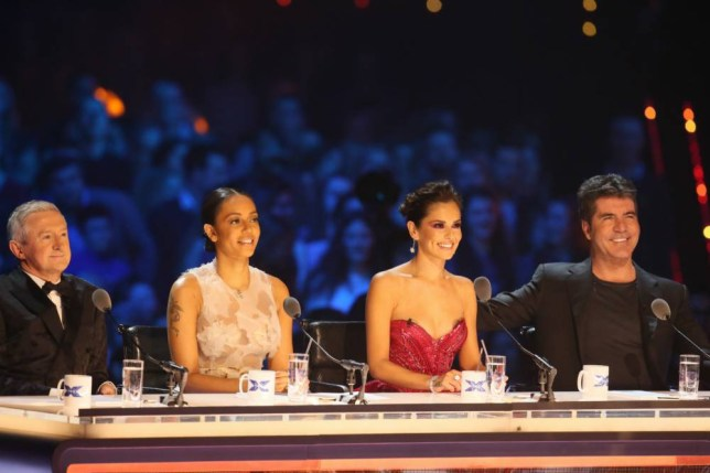 *** MANDATORY BYLINE TO READ: Syco / Thames / Corbis ***<BR /> The X Factor judges are seen at the X Factor live show in London. Credit: Jenkins/Syco/Thames/Corbis <P> Pictured: Simon Cowell, Cheryl Fernandez-Versini, Mel B, Louis Walsh <B>Ref: SPL912408  141214  </B><BR /> Picture by: Jenkins / Syco / Thames / Corbis<BR /> </P>