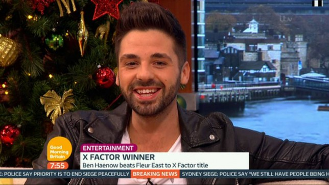 """****Ruckas Videograbs****  (01322) 861777 *IMPORTANT* Please credit ITV for this picture. 15/12/14 Good Morning Britain - ITV1 Grabs from this morning's show which saw X Factor winner Ben Haenow being interviewed by Ben Shephard and Susanna Reid. Ben, who was crown 2014 winner last night, spoke about beating Fleur East in the final and was stunned when Reid showed Haenow figures which showed he was ahead in the viewers votes from the start of the live finals. He also teased a proposition to his girlfriend Jess. Ben had been talking about how she is leaving lots of hints that she wants to get married, so Shephard gave Ben a chance to propose live on air. Ben turned to the camera and said """"Jess, wil you.... put the coffee on?!"""" Office  (UK)  : 01322 861777 Mobile (UK)  : 07742 164 106 **IMPORTANT - PLEASE READ** The video grabs supplied by Ruckas Pictures always remain the copyright of the programme makers, we provide a service to purely capture and supply the images to the client, securing the copyright of the images will always remain the responsibility of the publisher at all times. Standard terms, conditions & minimum fees apply to our videograbs unless varied by agreement prior to publication."""