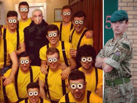 Friends dress up as 'minions' from Despicable Me for the funeral of deceased Royal Marine Commando