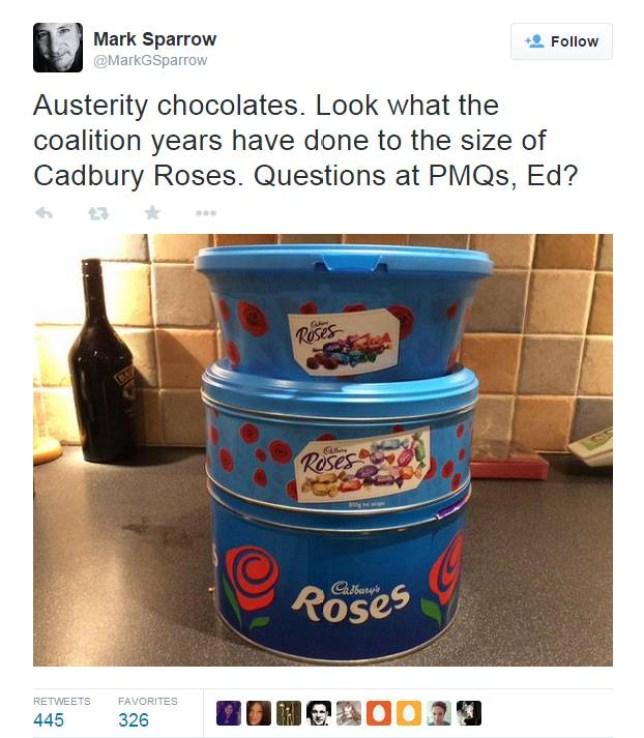 Tweet from Mark Sparrow re: Cadbury Chocolate tin sizes