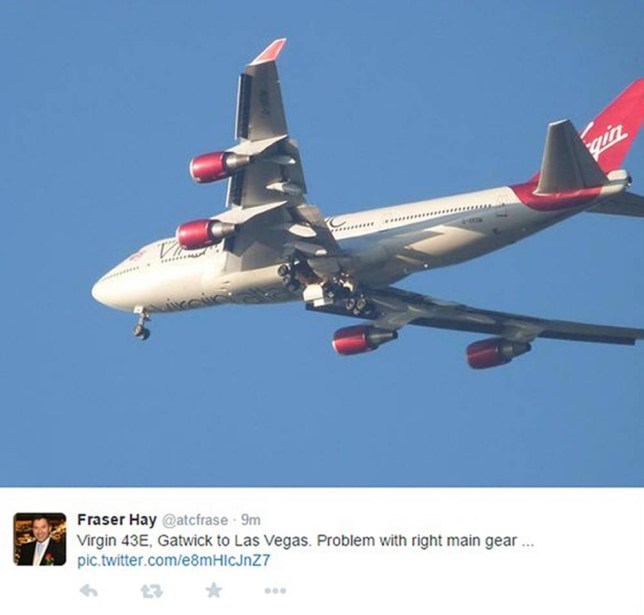 Screen grab image taken from the Twitter feed of @atcfrase of a Virgin Atlantic passenger plane which is trying to land back at Gatwick airport after reports that the aircraft has a landing gear problem. PRESS ASSOCIATION Photo. Issue date: Monday December 29, 2014. See PA story AIR Virgin. Photo credit should read: @atcfrase/PA Wire NOTE TO EDITORS: This handout photo may only be used in for editorial reporting purposes for the contemporaneous illustration of events, things or the people in the image or facts mentioned in the caption. Reuse of the picture may require further permission from the copyright holder.