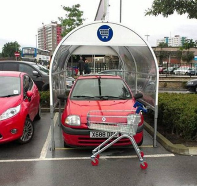 """Picture from the Facebook page - Photos of Bad Parking Cars - Hull, which has been created by frustrated motorists to post their photos. See Ross Parry copy RPYPARKING : This driver in Hull must have been off their trolley and so desperate to save a walk to the supermarket, they squeezed their Red Renault Clio into a trolley bay. The creator of the page, who has asked not to be named, believes the page is proving a hit because people can identify with it and recognise the places in the pictures. He said: """"The reason for launching the page is to show how incompetent or selfish people can be when parking their vehicle."""