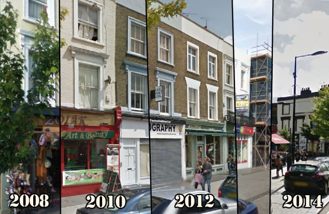 A detail of Camden's changing retail trade from 2008 to 2014 (Picture: Metro/Google Maps)