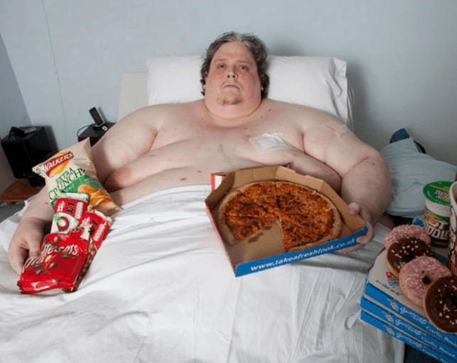 Keith blamed his size on a lifetime of junk food (Picture: Barcroft)