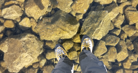 Watch these guys walk on ice that's clearer than a polished window