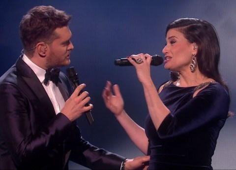 Idina Menzel and Michael Buble give X Factor fans a Christmassy treat – but Mel B and Cheryl refuse to join standing ovation