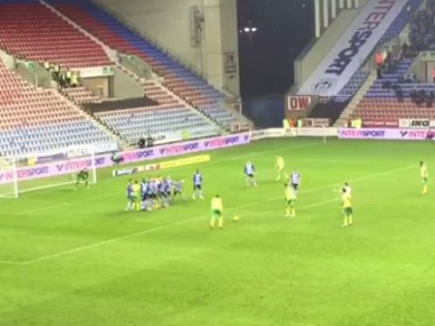 Kyle Lafferty stakes his claim for the worst free-kick ever with mis-hit effort for Norwich City against Wigan Athletic